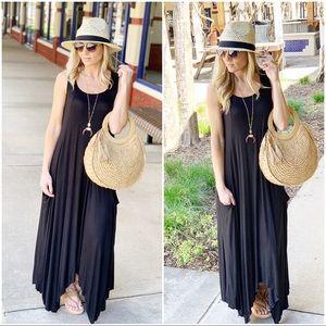 ✨RESTOCKED✨Black Asymmetrical maxi dress w/Pockets